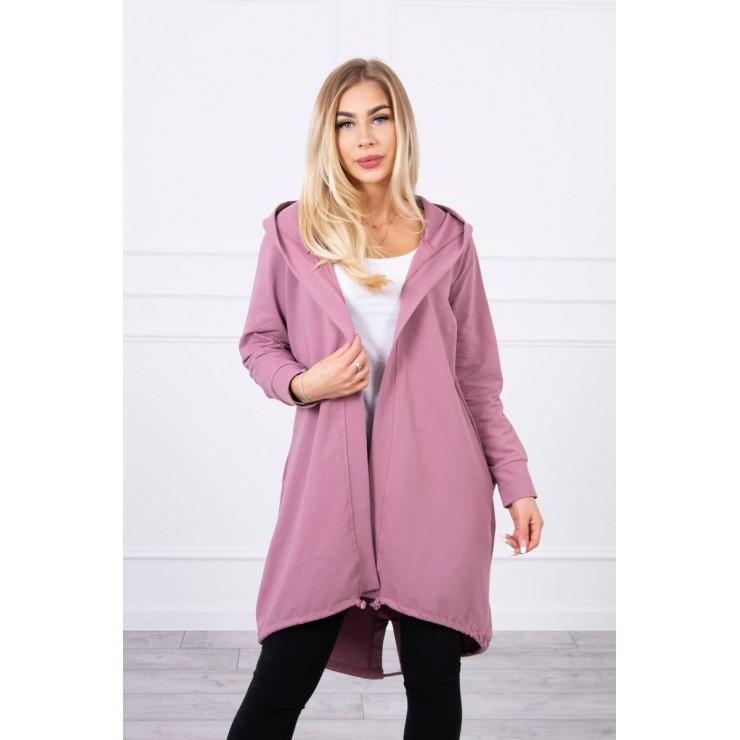 Long cardigan with hood LOVE MI9113 dark pink
