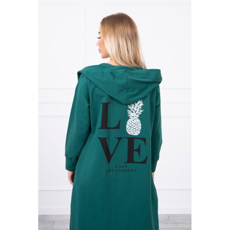 Long cardigan with hood LOVE MI9113 green