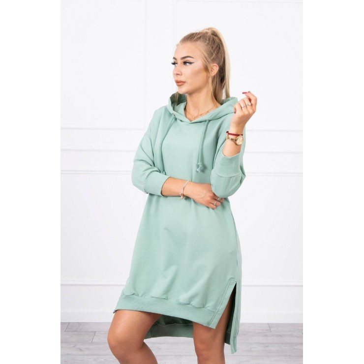 Dress with extended back and with e hood MI9078 dark mint