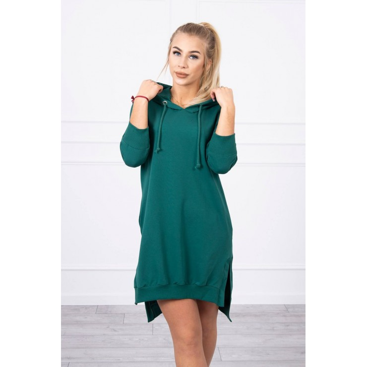 Dress with extended back and with e hood MI9078 green