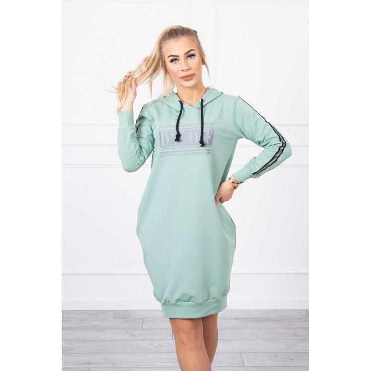 Dress with reflective print dark mint