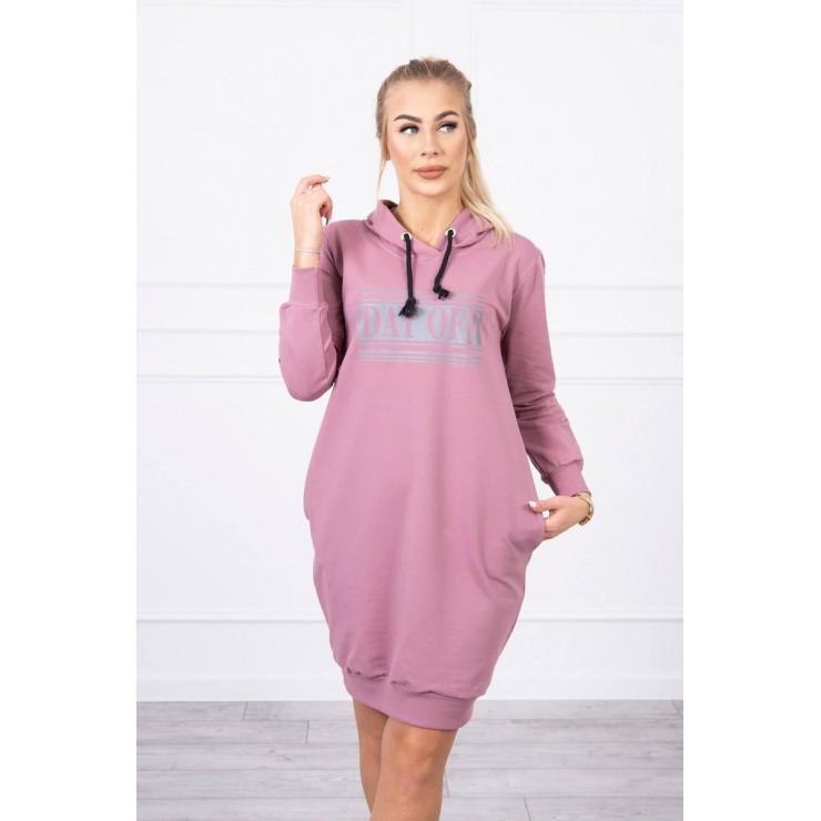 Dress with reflective print dark pink