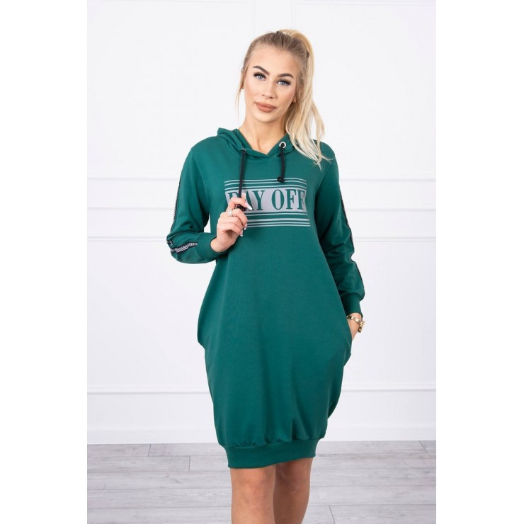 Dress with reflective print green