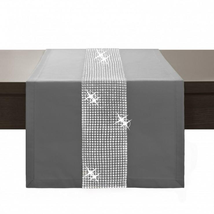 Behúň na stôl Glamour so zirkónmi tmavošedý