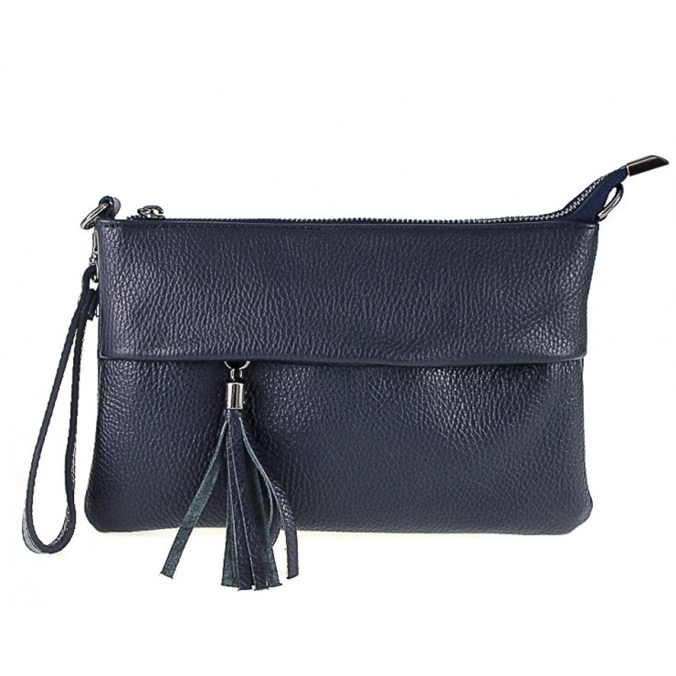 Genuine Leather Handbag 1492 dark blue