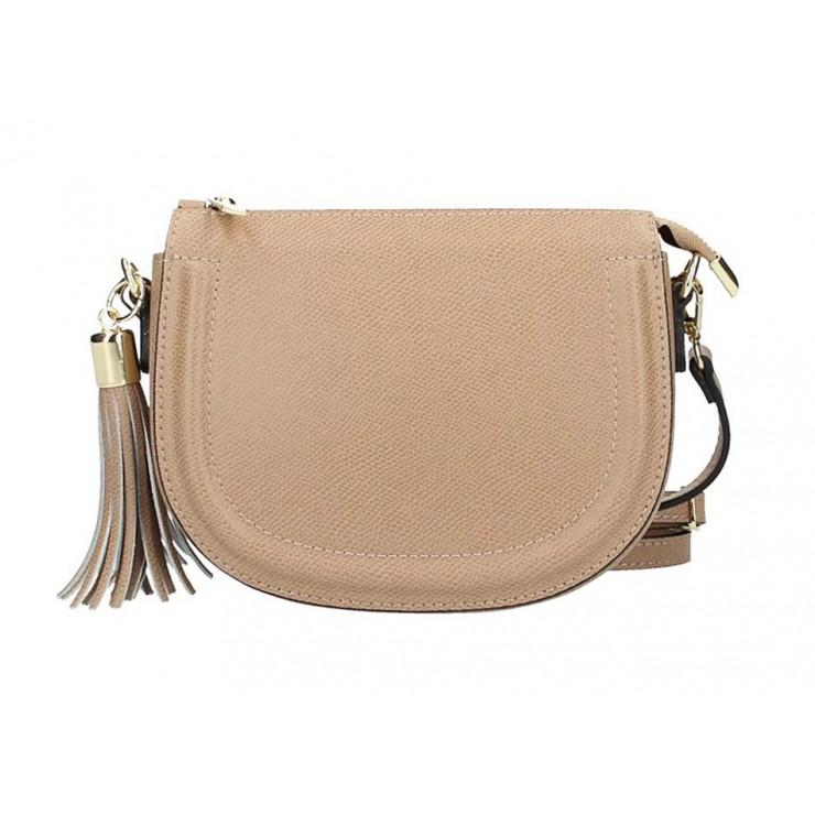 Šedohnedá kožená kabelka na rameno 1021