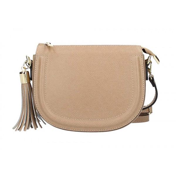 Šedohnedá kožená kabelka na rameno 1021 Made in Italy Šedohnedá