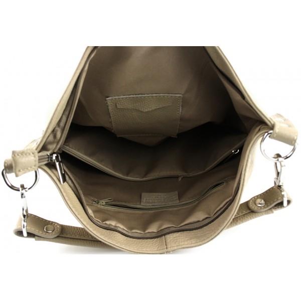 Kožená kabelka na rameno 981 Made in Italy hnedá Hnedá