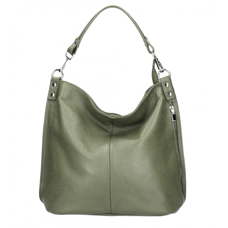Leather shoulder bag 981 Made in Italy green