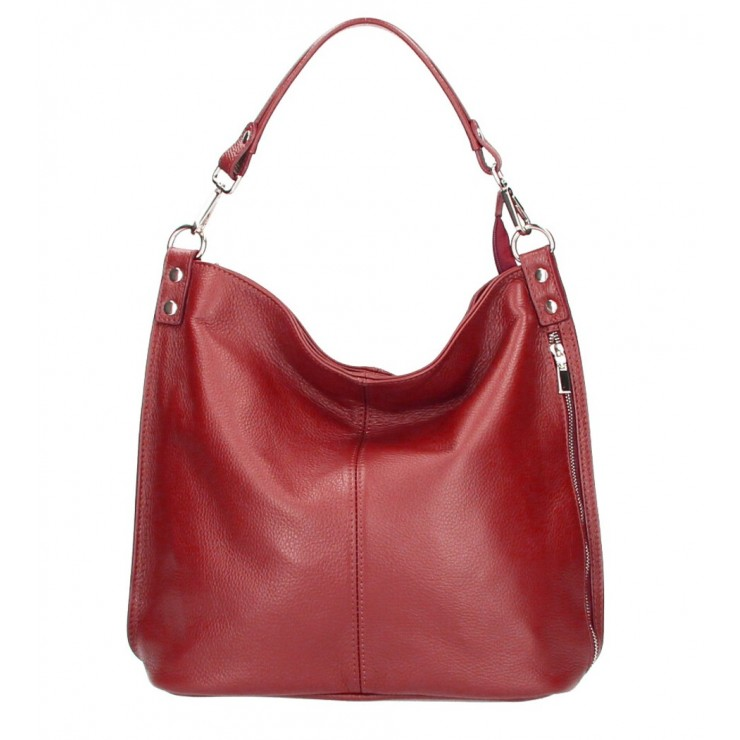 Kožená kabelka na rameno 981 Made in Italy červená