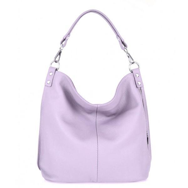 Kožená kabelka na rameno 981 Made in Italy lila Fialová