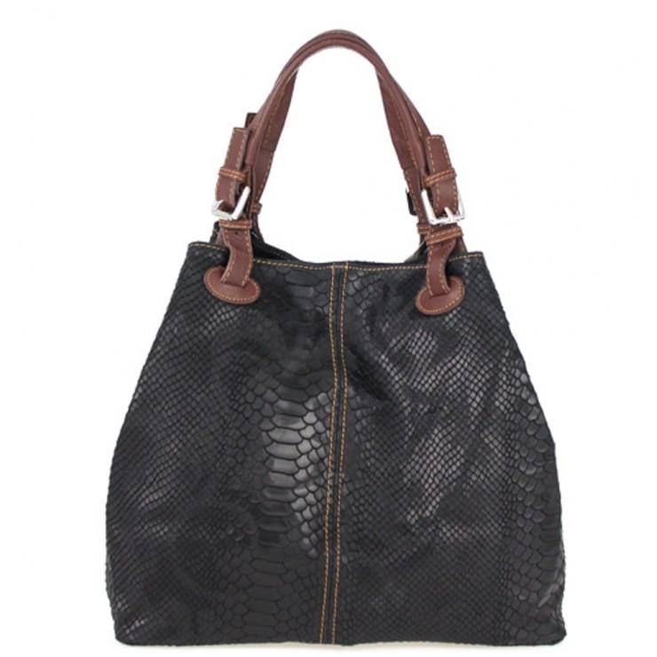 Genuine Leather Handbag Python stamp 35 black