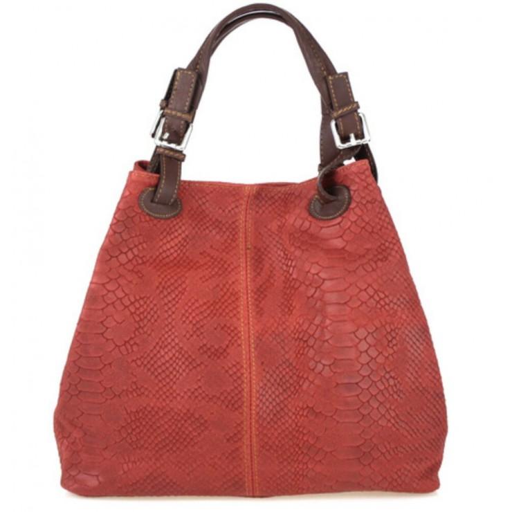 Kožená kabelka potlač pytón 35 červená