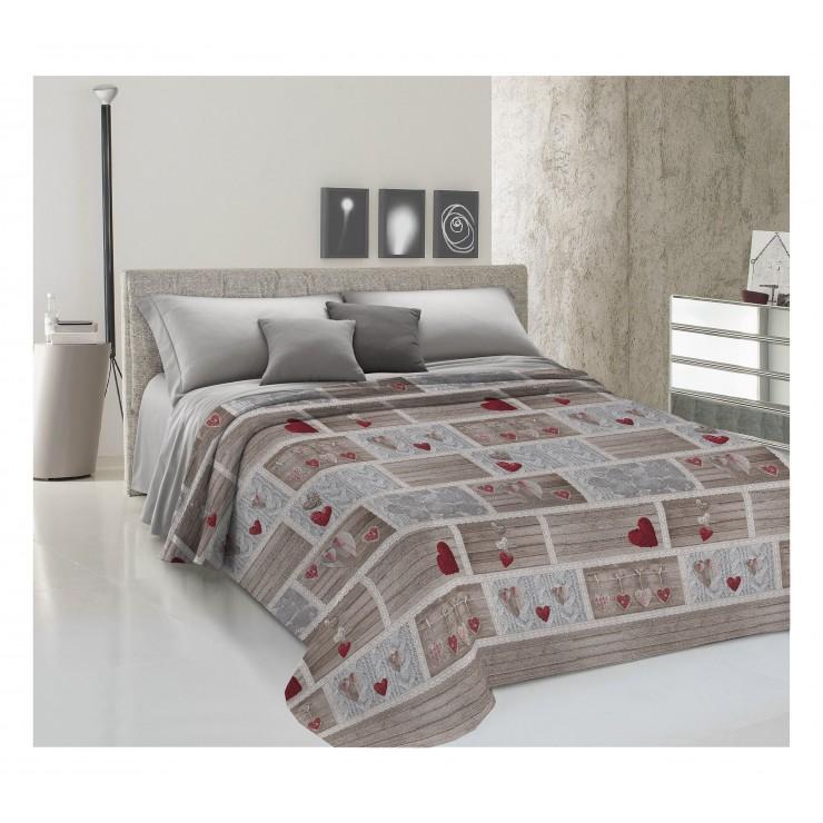 Prikrývka na posteľ Piquet Shabby love červená