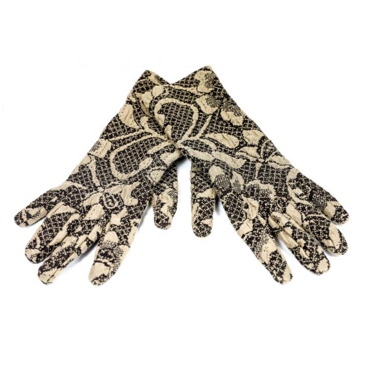 Dámske rukavice Jacquard GJG01 hnedé Made in Italy