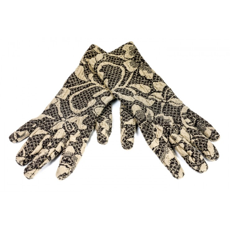 Women's gloves Jacquard GJG01 brown Made in Italy