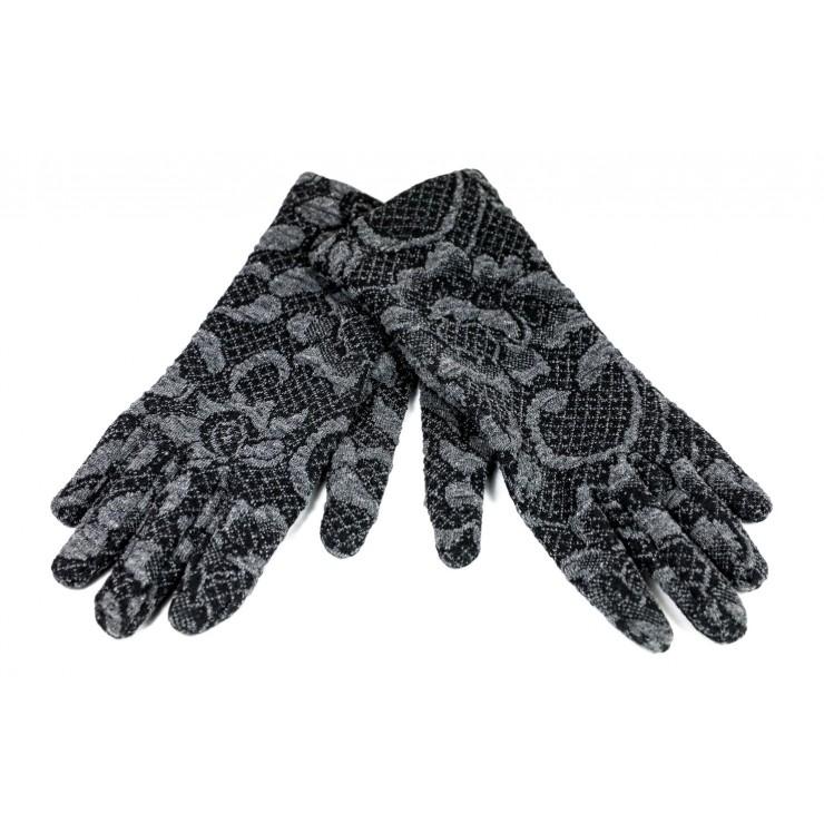 Dámske rukavice Jacquard GJG01 šedé Made in Italy