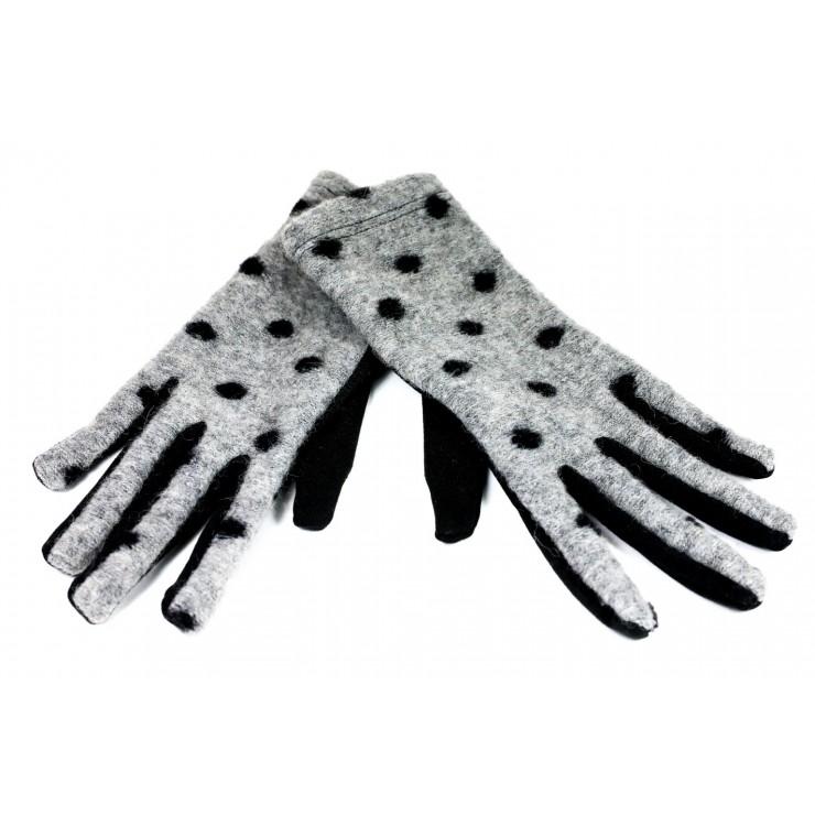 Dámske bodkované rukavice CLC39 šedé Made in Italy