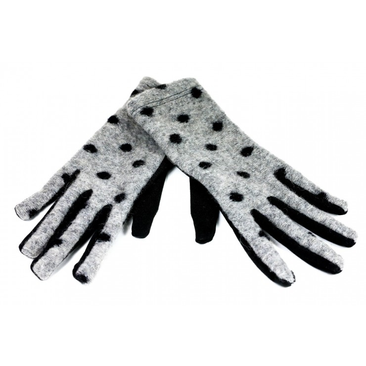 Women's dotted gloves CLC39 gray Made in Italy