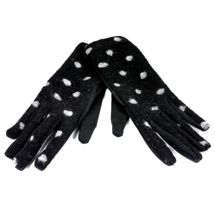 Dámske bodkované rukavice GLC39 čierne Made in Italy