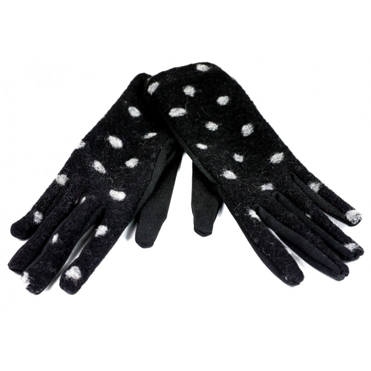 Women's dotted gloves GLC39 black Made in Italy