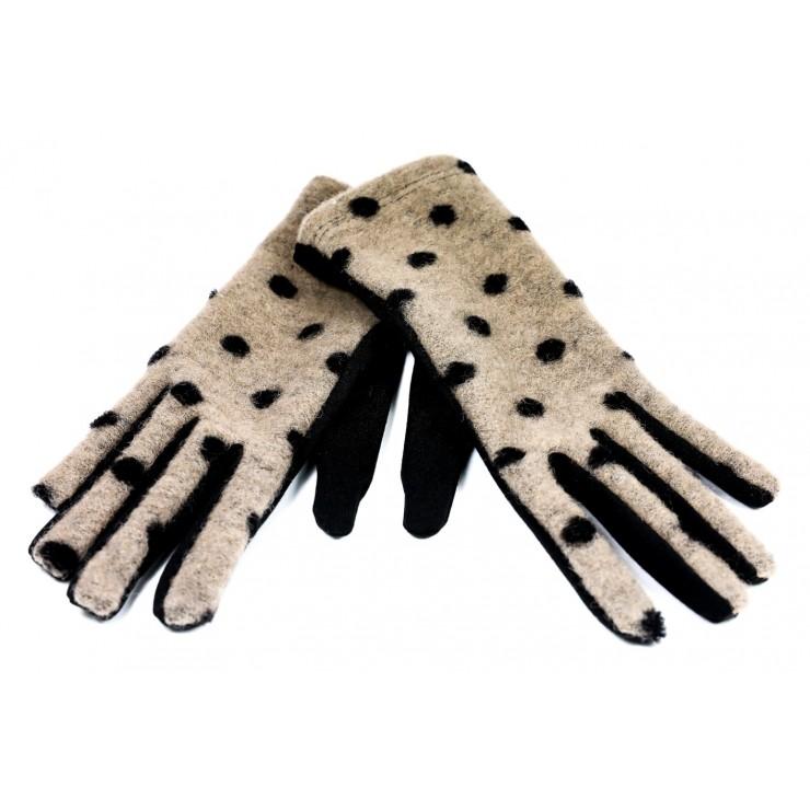 Dámske bodkované rukavice GLC39 béžové Made in Italy