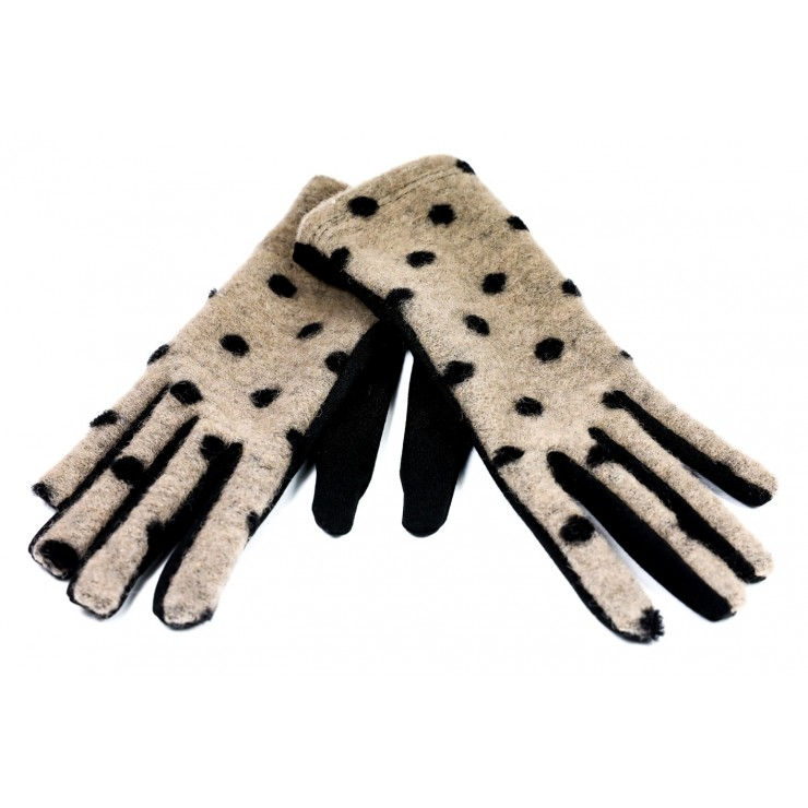 Women's dotted gloves GLC39 beige Made in Italy