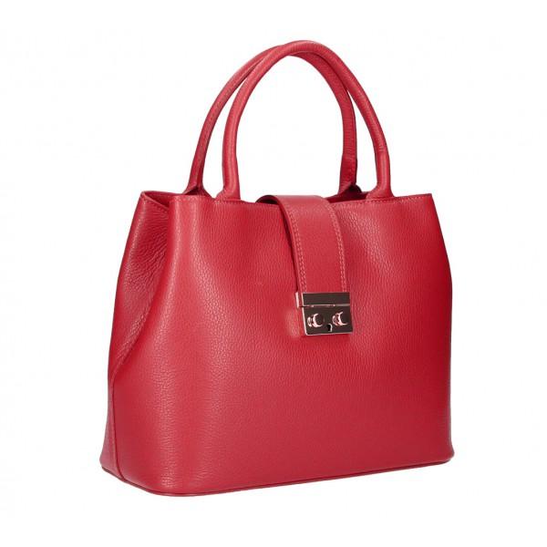 Červená kožená kabelka 1137 Červená