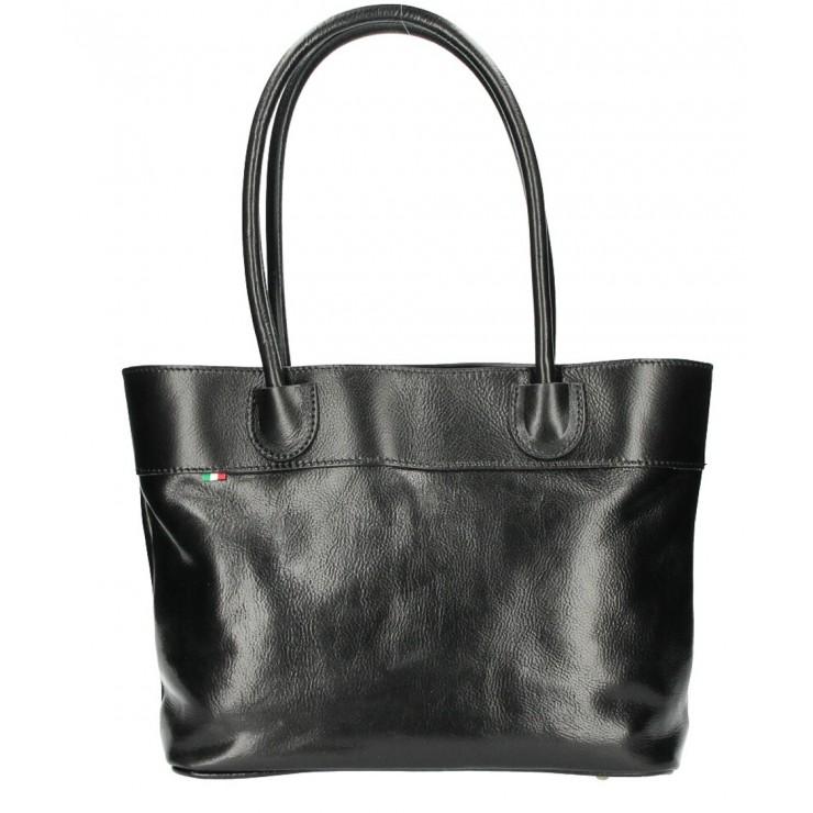 Dámska kožená kabelka čierna MADE IN ITALY