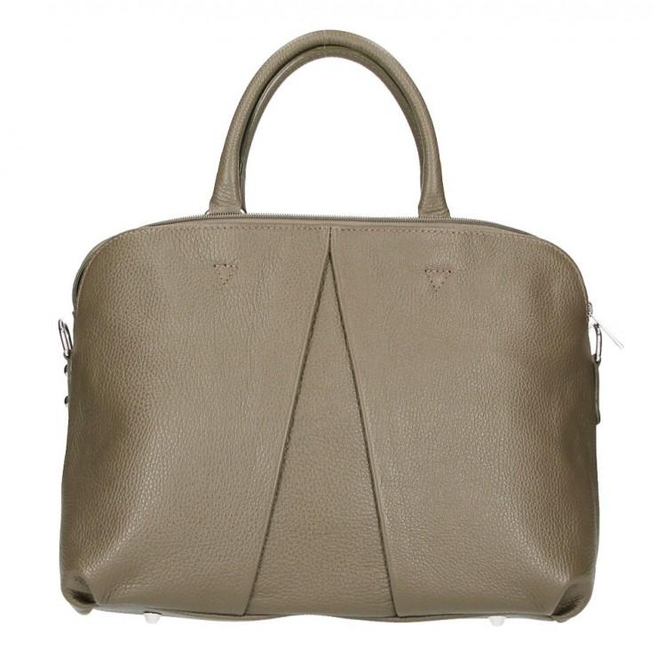 Kožená kabelka MI87 tmavá šedohnedá Made in Italy