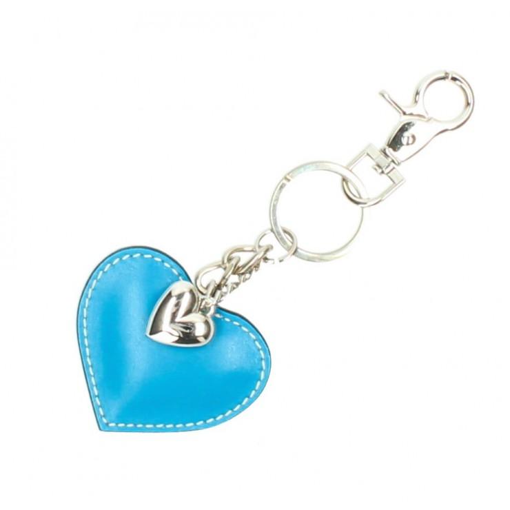 Kožená kľúčenka srdce tyrkysová
