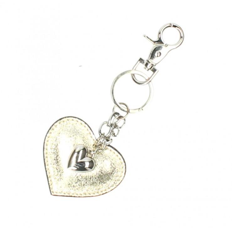 Kožená kľúčenka srdce zlatá