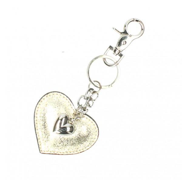 Kožená kľúčenka srdce zlatá Tyrkysová