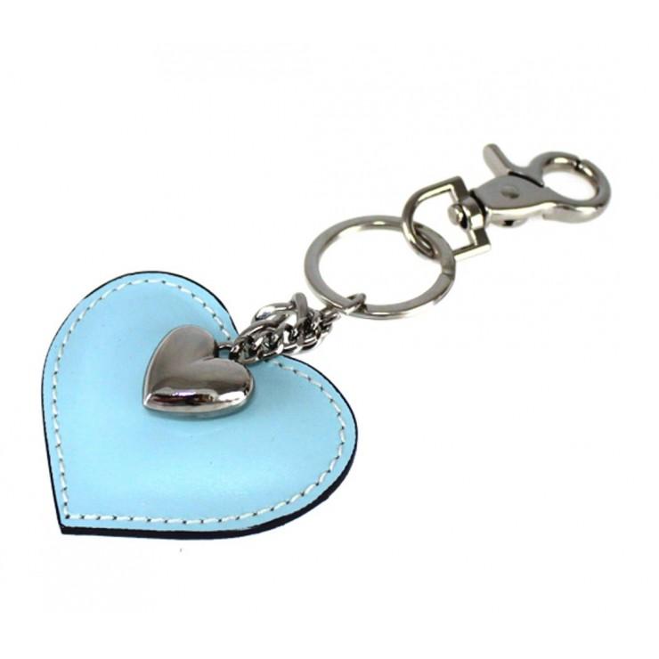 Kožená kľúčenka srdce nebesky modrá