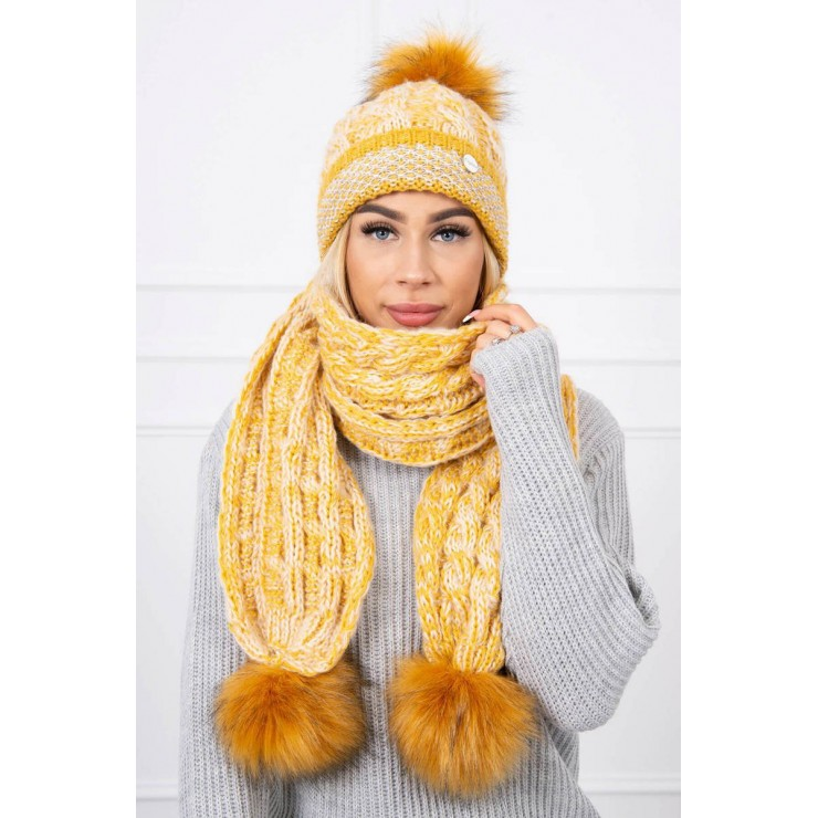 Women's Winter Set hat and scarf  K122 yellow