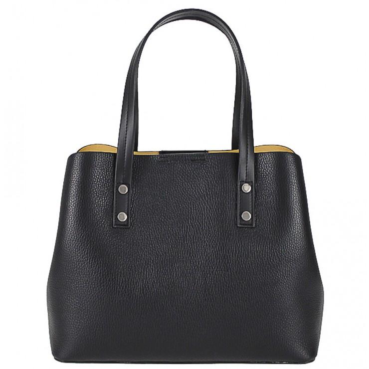 Kožená kabelka 1168 čierna