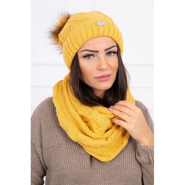 Women's Winter Set hat and scarf  MIK124 mustard