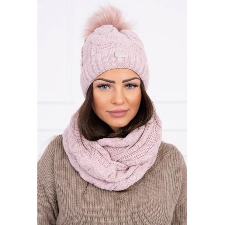 Women's Winter Set hat and scarf  MIK124 powder pink