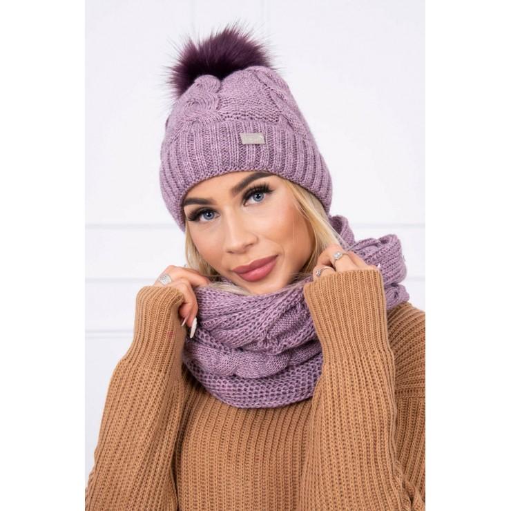 Women's Winter Set hat and scarf  MIK124 light purple