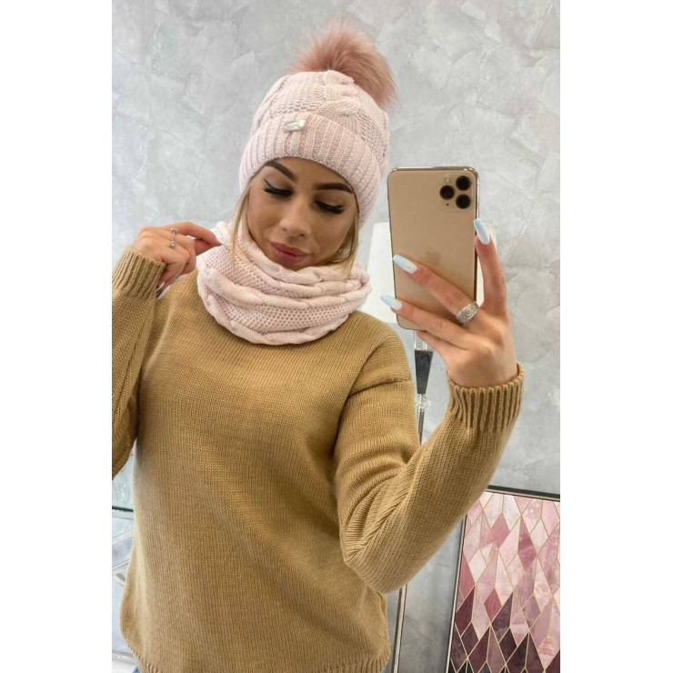 Women's Winter Set hat and scarf  MIK124 light pink