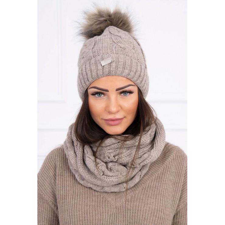 Women's Winter Set hat and scarf  MIK124 dark beige