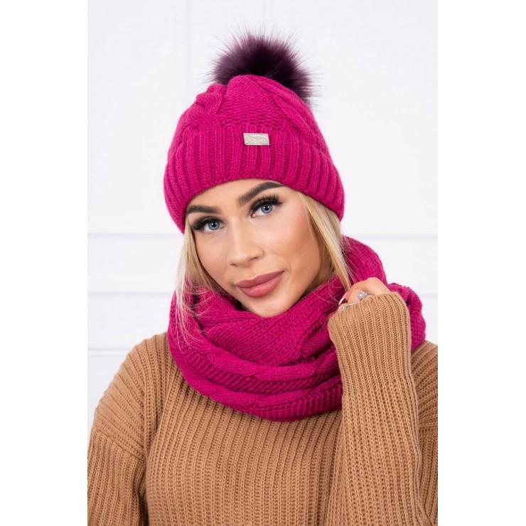 Women's Winter Set hat and scarf  MIK124 dark purple