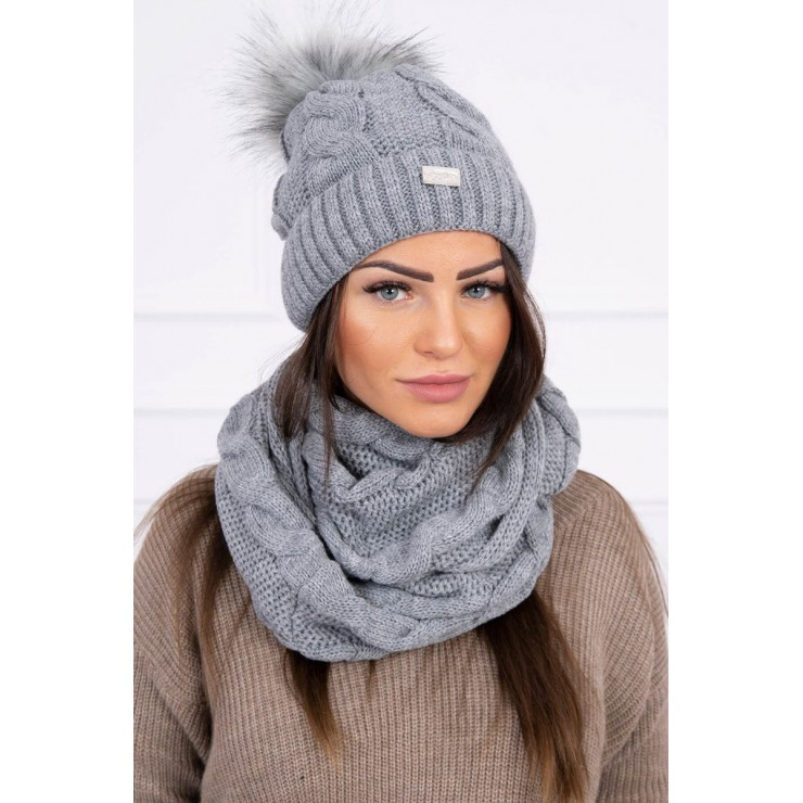 Women's Winter Set hat and scarf  MIK124 dark gray