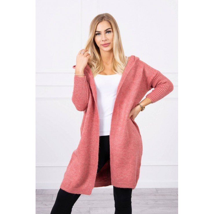 Dámsky sveter s kapucňou MI2020-14 tmavoružový