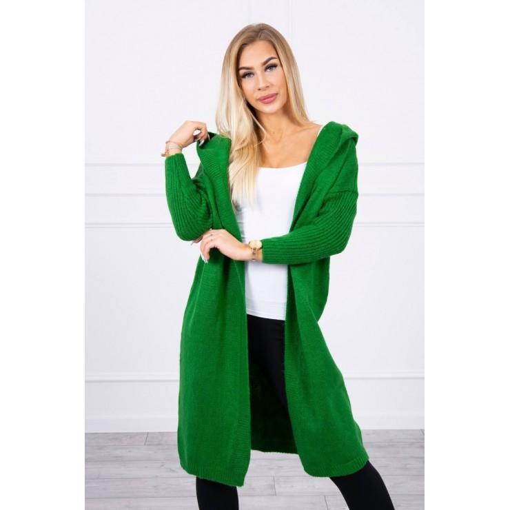 Dámsky sveter s kapucňou MI2020-14 zelený