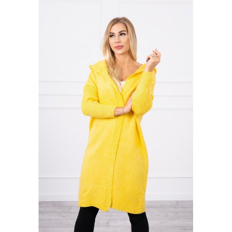 Dámsky sveter s kapucňou MI2020-14 žltý