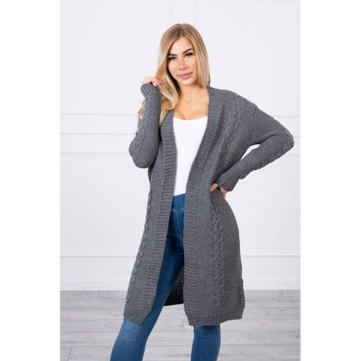 Ladies long sweater with braids MI2019-1 graphite
