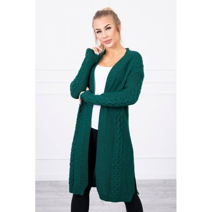 Ladies long sweater with braids MI2019-1 green
