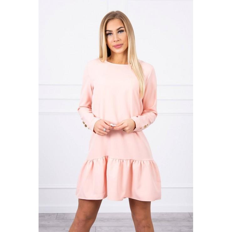 Dámske šaty s volánom MI66188 svetlo pudrovo ružové