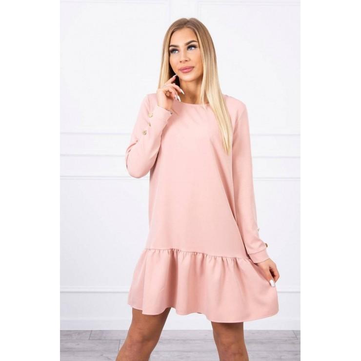 Dámske šaty s volánom MI66188 tmavo pudrovo ružové